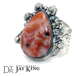 Jay King Bohemian Ring Crazy Lace Agate Sterling Silver Red  Size 7.5-8